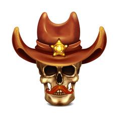Sheriff Skull In Cowboy Hat