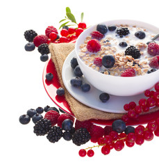 The oat flakes with red and blue berries