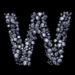 3D Diamond letter W on black isolated with clipping path