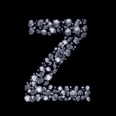 3D Diamond letter Z on black isolated with clipping path