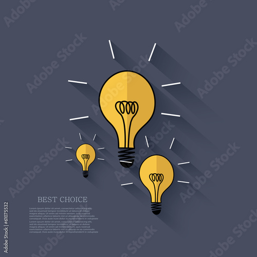 Vector flat idea icon background. Eps 10