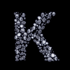 3D Diamond letter K on black isolated with clipping path
