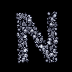 3D Diamond letter N on black isolated with clipping path