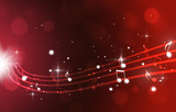 Music Notes on Red Background