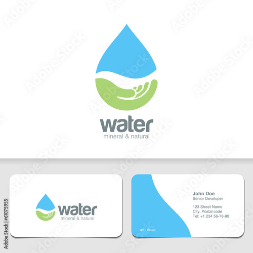 Logo Water drop eco organic design & business card template