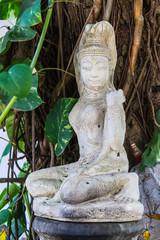 White Phra Mae Thorani Statue in Thailand