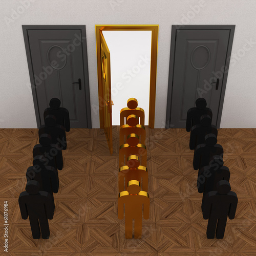 Gold People select door way