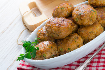 rissole with mould cheese and parsley