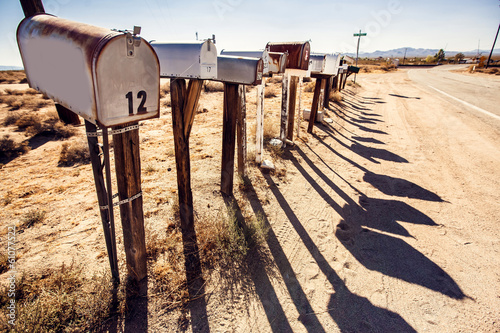 Mail boxes at Arizona desert