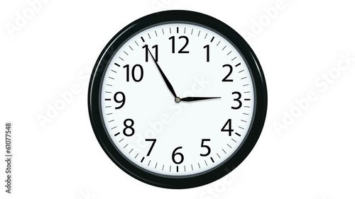 Clock Face Counting Down 12 Hours. Alpha channel