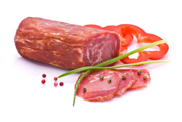 Sliced Sausage, Bell Pepper, Pepper and Chives isolated on white
