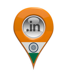 3D pin domain marker with Indian flag isolated