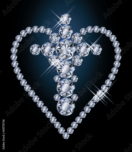 Diamonds cross and heart, vector illustration