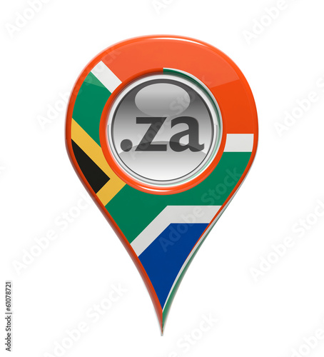 3D pin domain marker with South African flag isolated