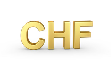 Golden 3D CHF currency shortcut isolated with clipping path
