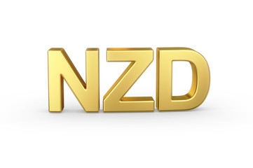 Golden 3D NZD currency shortcut isolated with clipping path