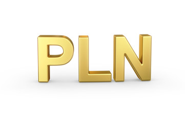 Golden 3D PLN Zloty isolated with clipping path