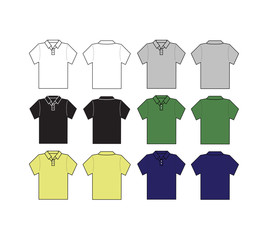set of polo shirt with different color template