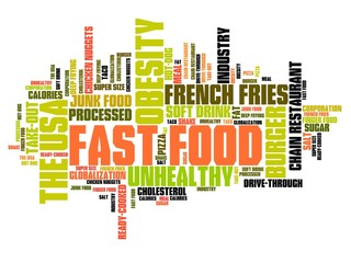 Unhealthy diet words - tag cloud illustration