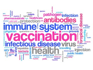 Vaccines words - tag cloud illustration