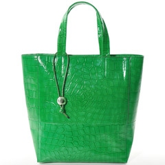 green women bag, fashion 2014,  isolated on white