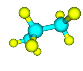 Molecular structure of propane on white