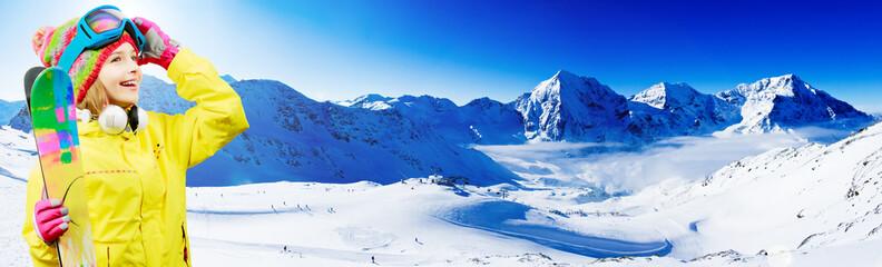 Ski, winter - young skier enjoying winter vacation