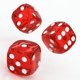 Fototapety three red dices falling