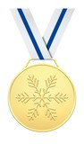 Golden medal with blue and white ribbon