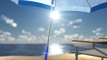 concept vacation background sea beach with chair and seashells