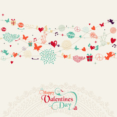Vintage Valentine`s day postcard design