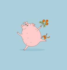 Pig with flowers