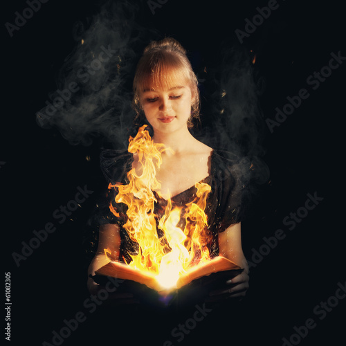 Woman with fire Bible
