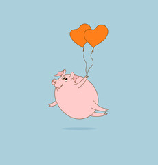 Flying pig with heart-shaped balloons