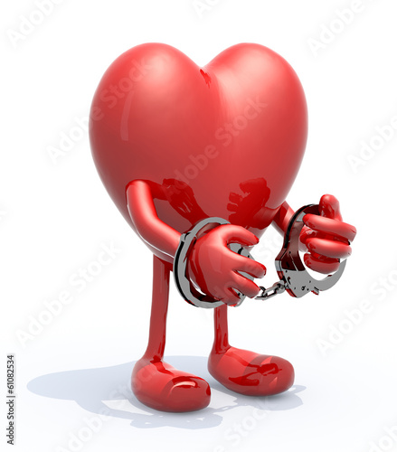 heart with arms, legs and handcuffs on hands