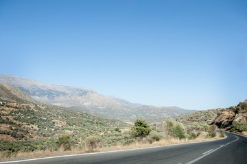 Road through the mountains on Crete