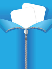 Zipper on blue background