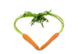 fresh carrots in a heart shape