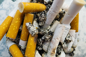 cigarette butts, chain-smoking
