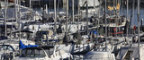 Italy, Sicily, view of luxury yachts in the marina