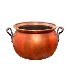 Empty bronze pot. Vintage handmade product.
