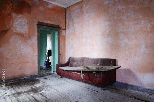 canvas print picture old abandoned living room with sofa