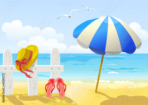 beach, sea and sun umbrella