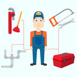 vector illustration of plumber with tool