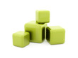 Four green cubes