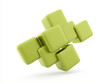 Green abstract cubes isolated