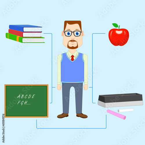 vector illustration of teacher with educational object