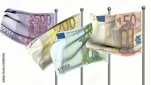 euro flags 3d animation on white background