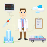 vector illustration of doctor with equipment