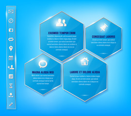 Glossy blue frames and set of simple metallic icons